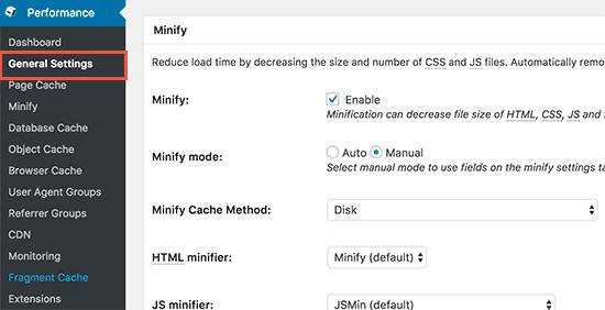 W3 Total Cache启用minify